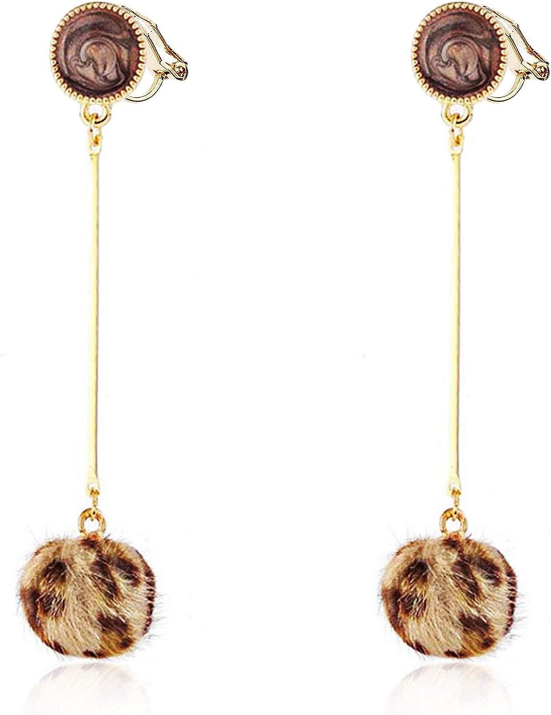 Leopard Hairball Clip on Earrings Long Dangle Drop non Pierced for Women Girls Gold Plated Bohemian Boho