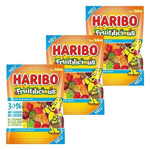 Haribo fruiti Licious, Juego de 3, Golosinas, Goma ftalatos, Vino Goma, Golosinas, Ositos de Goma, Bolsa