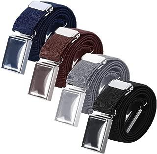 Uspacific 4 Pieces Kids Elastic Belts, Kid Adjustable Buckle Stretch Belt for Children, 4 Colors