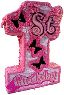Aztec Imports Girls First Birthday Pinata, Number One with Butterfly Windows and Shiny Accents, Party Game, Centerpiece Decoration and Photo Prop, Pink