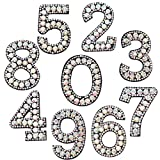 David Angie 0-9 Numbers Beaded Rhinestone Patches Embroidered Iron On Sew On Applique Patch for Dress Clothes Hats Bags Decoration (Assorted)