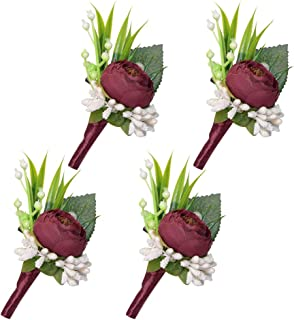ETERNAL ANGEL Boutonniere for Men Handmade Wedding Lapel Flowers Pins Groomsman Corsages Peony for Suit Pink 4PCS