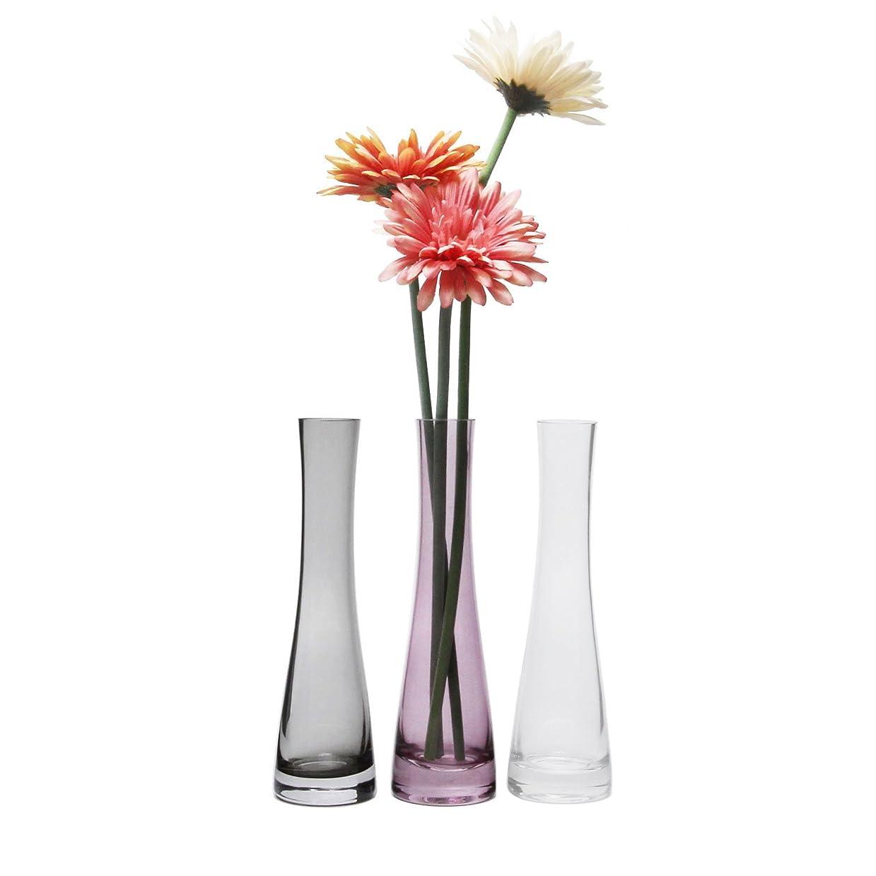 メナジェリー所持観客T4U 21.5cm 花瓶 ミニ花器 ガラス製 透明グレー 3色セット