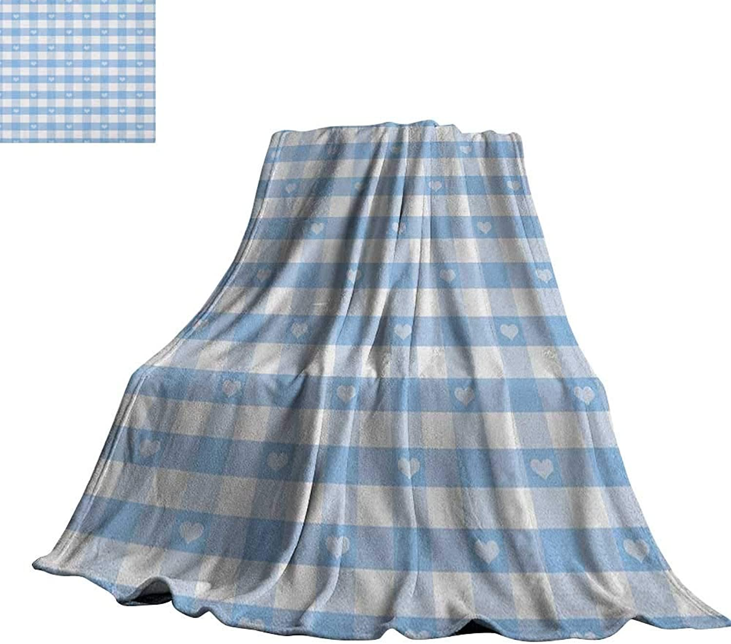 RenteriaDecor Checkered,Throw Blankets Gingham Motif with Cute Little Hearts Pastel bluee Baby Shower Kids Theme Lightweight Plush Throws 60 x50