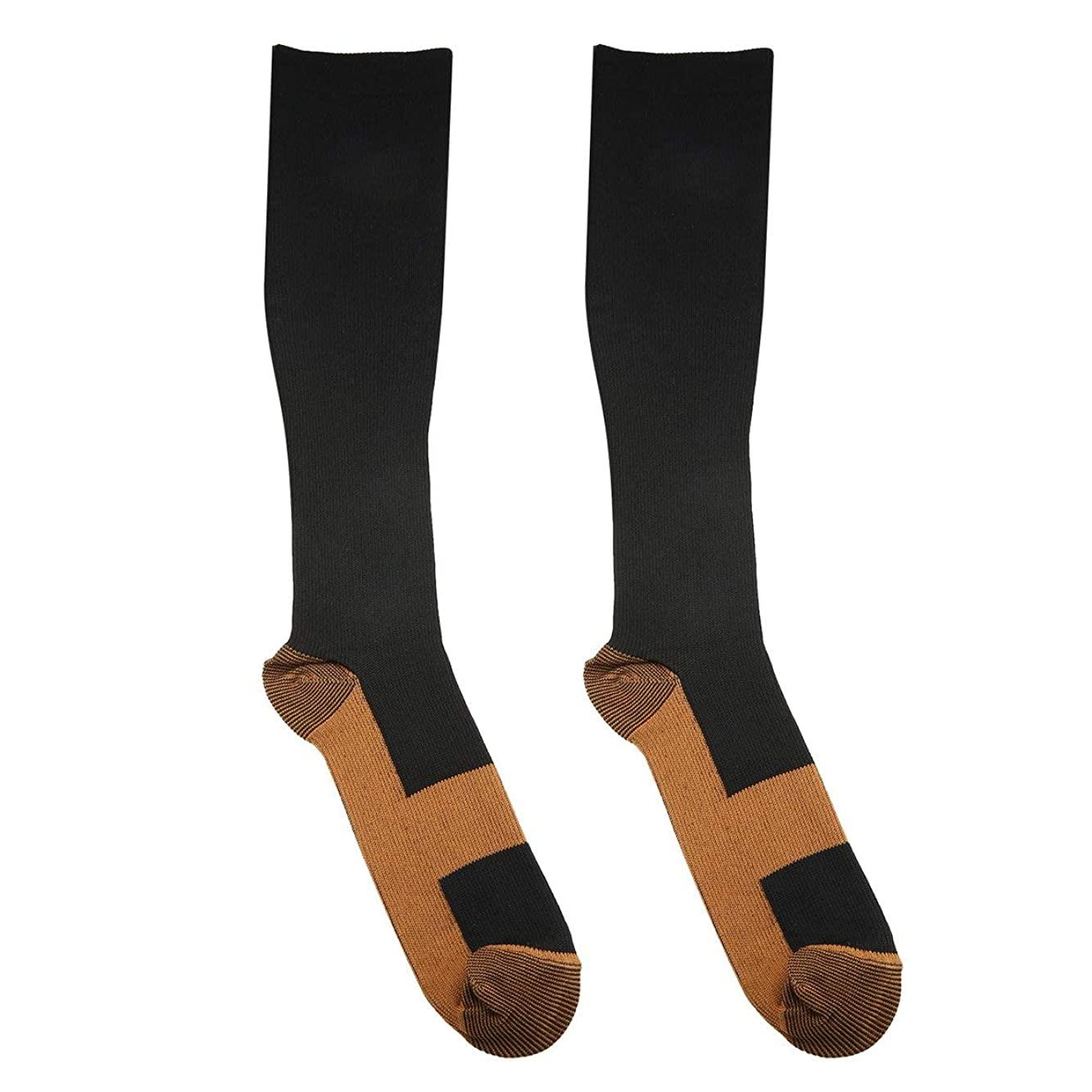 ベックス樫の木地平線ファッショナブルな快適な救済ソフト男性女性抗疲労圧縮靴下抗疲労静脈瘤ソックス - 黒S