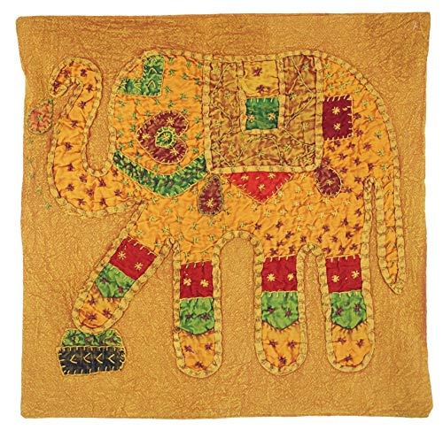 Guru-Shop Indische Kussenhoes, Geborduurd Olifantenkussen Etnostiel - Mosterdgeel, Katoen, 40x40 cm, Decoratiekussen Sofa-kussen