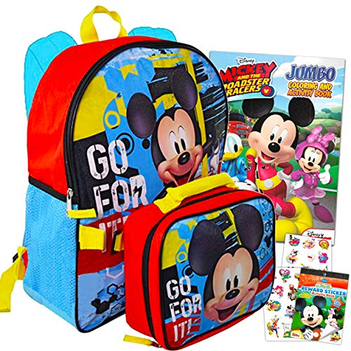 Disney Mickey Mouse Backpack with Lunchbag Bundle 5 Pc Activity Set ~ Deluxe 16' Mickey Mouse School Bag with Mickey Lunch box, Coloring Book, Stickers and More (Mickey Mouse School Supplies)
