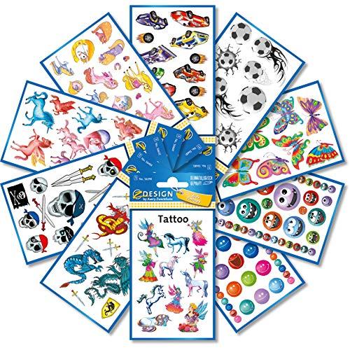 AVERY Zweckform 59993 123 tattoos voor kinderen (tattoo set jongens en meisjes, tijdelijke watervast, kleeftattoos, kinderverjaardag, cadeautje, kinderen om te spelen, cadeau voor kinderen