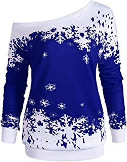 BrowING Women's Off the Shoulder Christmas Long Sleeves Snowflake Tops Blouse