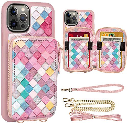 ZVE Zipper Crossbody Wallet Case for iPhone 12 Pro/iPhone 12, 6.1 inch, Purse Case with Card Holder Wrist Strap Gift Compatible with iPhone 12 Pro/iPhone 12 (2020), 6.1 inch-Mermaid Wall