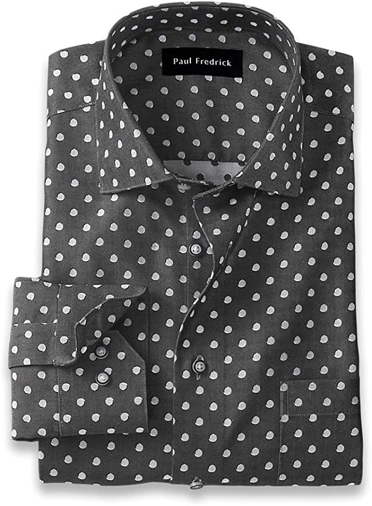 Paul Fredrick Men's Classic Fit Non-Iron Cotton Dot Print Dress Shirt