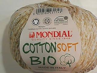 Algodón Bio Lane Mondial Cotton Soft Bio Lana Color 948 100% Algodón Orgánico, Algodón Orgánico, Lana de Bebé Bio para Punto y Ganchillo