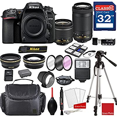 Nikon D7500 DX-Format Digital SLR w/AF-P DX NIKKOR 18-55mm f/3.5-5.6G VR Lens & AF-P DX 70-300mm f/4.5-6.3G ED Lens + Professional Accessory Bundle from GP | Nikon