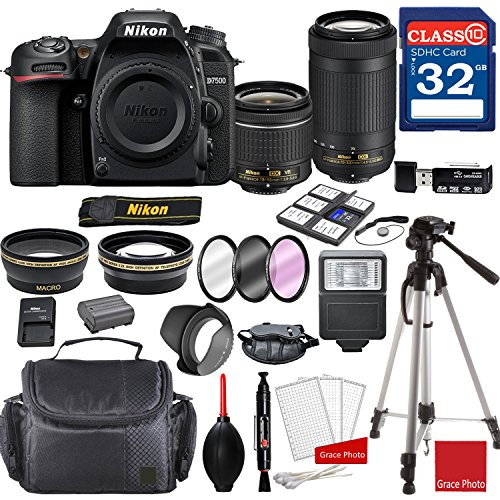 Nikon d7500 dx-format digital slr w/af-p dx nikkor 18-55mm f/3. 5-5. 6g vr lens & af-p dx 70-300mm f/4. 5-6. 3g ed lens + professional accessory bundle