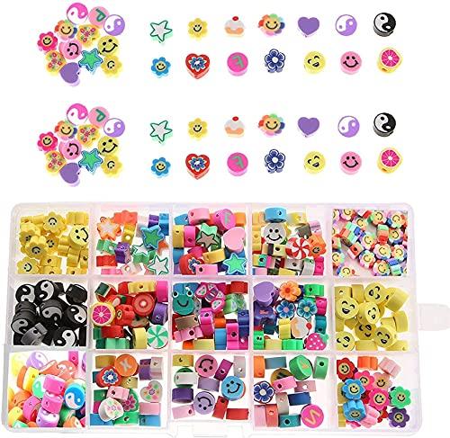 Armbandherstellung Kit Gemischte Smiley Bunte Polymer Clay Perlen mit 15 Stilsorten, Buchstaben, Obst, Yin und Yang-Scheibe Spacer Perlen, Armbänder, Perlenhandwerk, Haare Zubehör, geeignet für Damen