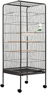 vidaXL Klatka dla ptaków z tacą na żywność dozownik wody okonie przestronna woliernia dom stojak siedlisko szary 54 x 54 x...