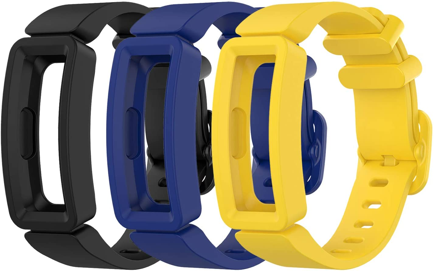 EEweca 3-Pack Bands Compatible with Fitbit Ace 2 Replacement Strap for Kids (Black, Night Sky, Neon Yellow)