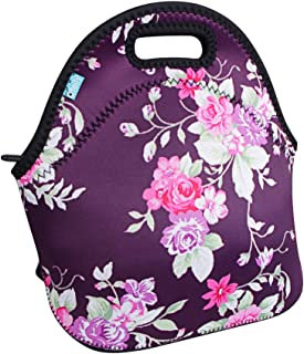 Lunch Tote, OFEILY Lunch boxes Lunch bags with Fine Neoprene Material Waterproof Picnic Lunch Bag Mom Bag (Flower&Purple)