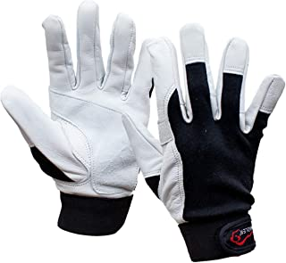 SAFE HANDLER Keystone Reinforced Gloves with Reinforced Double Palm Protection | Breathable, Stretch Fabric Backing, Secure Hook & Loop Closure, Reinforced Double Palm Goat Leather, L/XL, 1 Pair