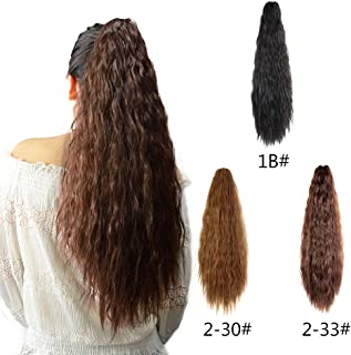 Beauty Angelbella 24'' Synthetic Ponytail Extension Kinky Straight Claw Ponytail Clip on Hair Extensions Hairpiece Soft Silky for Women (Dark Brown)