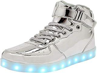 WONZOM Unisex Adulto Scarpe da Ginnastica con Ricarica USB per Scarpe Luminose a LED Alte