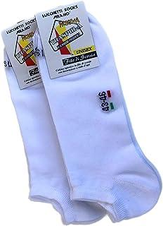 Lucchetti Socks Milano 6 PAIA calzini FANTASMINI cotone FILO DI SCOZIA sotto la caviglia NERO BIANCO BLU