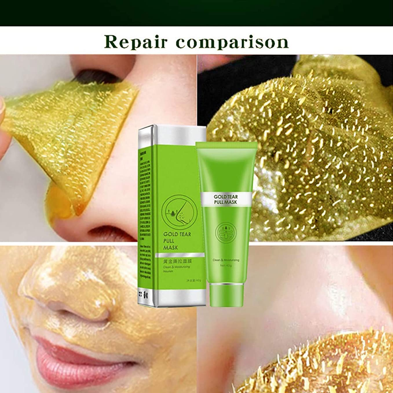 火薬アラブサラボ勇敢なフェイスケアゴールドコラーゲンピールオフマスクゴールデンティアリングマスクディープクリーニングにきび除去筋肉保湿ピュアナリッシングシュリンクポア引き締めスキンケアFace Care Gold Collagen Peel off Mask Golden Tearing Mask Deep Cleaning Blackhead Acne Removal (2個/2Pcs)
