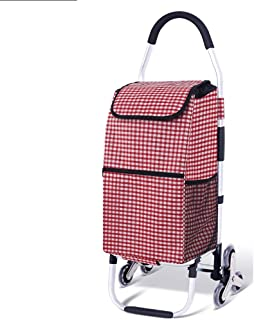 NLNLCG Shopping Trolley on 6 Wheels, Foldable Shopping Cart Trolley, with Stair Climbing and Waterproof Function, Bearing Weight 50kg (Color : F)