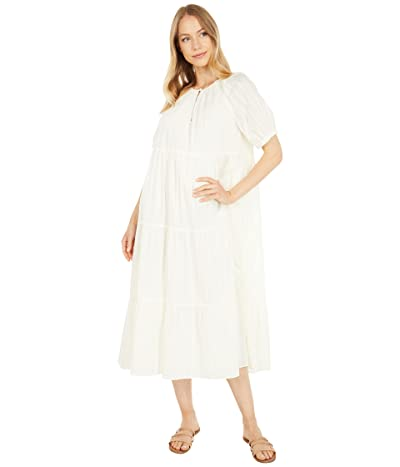 Madewell Bubble Sleeve Tiered Midi Dress in Textural Stripe