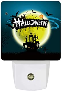 Plug-in Night Lights Dark Castle Flying Horror Night Halloween Theme LED Night Lamp with Auto Dusk-to-Dawn Sensor Warm White Light& Ultra Low Power for Bedroom/Bathroom/Hallway/Kid's Room