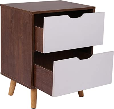 End Table Storage Cabinet, Bedroom Night Stand Bedside Table Coffee Table Bedroom Furniture Nightstand with 2 Drawer for Living Room, Entryway, Office - Easy Assembly【US Fast Shipment】 (Wild)