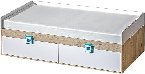 Kinderbett Jugendbett Fabian 14 inkl. Lattenrost, Farbe  Eiche Hellbraun Weiß Blau - 90 x 200 cm (L x B)