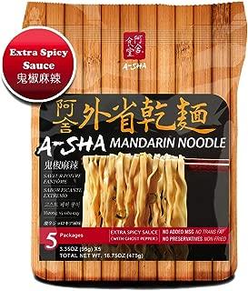 Asha Healthy Ramen Noodles (Extra Spicy with Ghost Pepper, Medium Width Mandarin Noodle)
