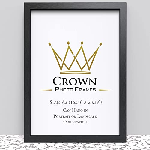 Crown Black Photo Frame for A2 42 x 59.4 cm (16.53x23.39 Inches) Picture Photo Poster Certificate, Hang on wall in both Landscape and Portrait