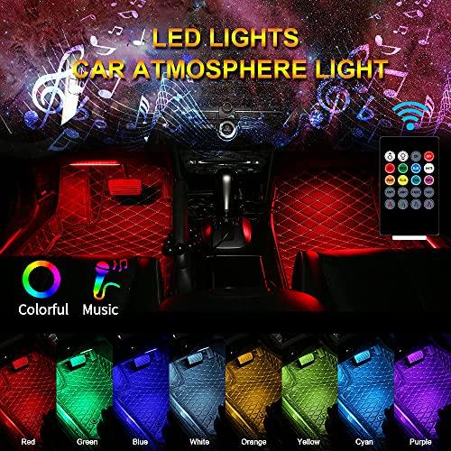 Strisce LED per auto 12 LED Multi Color Car Interior Lights Atmosfera Footwell Decorazione Strisce Led luce Telecomando wireless Musica + Controllo vocale