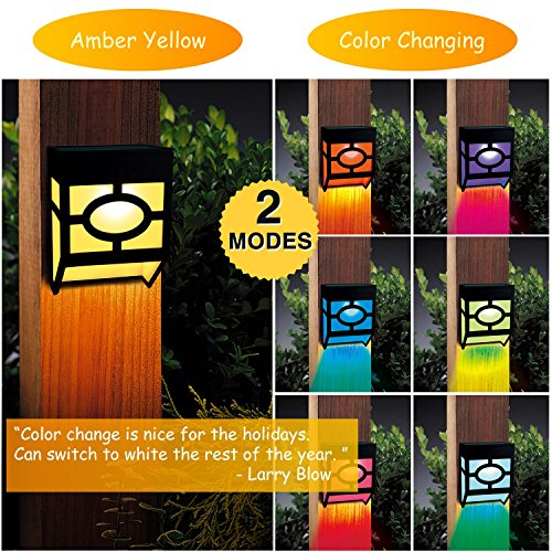 Greluna Solar Fence Lights,2 Modes Solar LED Outdoor Wall Lights for Deck, Fence, Patio, Front Door, Stair, Landscape,Yard and Driveway Path,Warm Amber/Color Changing,Pack of 2