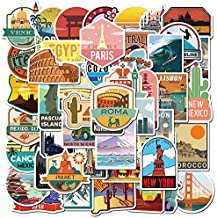 Travel Around The World Stickers 50 Pack Vinyl Laptop Stickers,Waterproof Travel Map Stickers for Water Bottles,-Graffiti Stickers Pack for Teens Girls Kids Adults(Country & Regions Logo Stickers)