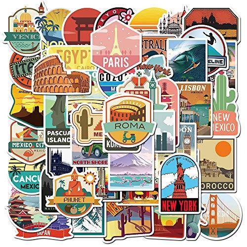 JZLMF 50 ciudades de viaje, paisaje, graffiti, maleta, patinete, portátil, pegatinas impermeables