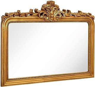 Hamilton Hills Top Gold Baroque Wall Mirror | Rich Old World Feel Framed Beveled Elegant Glass Mirror | Horizontal Rectangle Entryway Bathroom or Powder Room (40