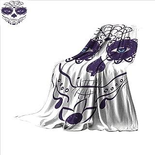 Day of The Dead Custom Design Cozy Flannel Blanket Dia de Los Muertos Sugar Skull Girl Face with Mask Make up Print Lightweight Blanket 60