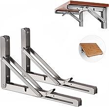 Opvouwbare Plank Beugels, Vouwplankbeugel roestvrijstalen klapconsole, 2 stuks Wandbeugel plankhouder, houder voor planken...