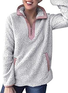 Uni Clau Womens Fleece Sherpa Fuzzy Half Zipper Long Sleeve Pullover Fashion Sweatshirt Coat Winter Outwear with Pockets