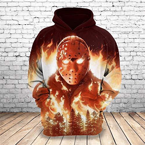 Gbcyp Halloween 3D Horror bedrukte hoodie Moda pullover top kleding voor heren