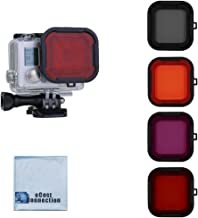 eCostConnection Filter Kit for GoPro HERO3+, HERO4 (Standard Housing), HERO4/HERO5 Session Cameras. Red, Purple, Orange. Gray Colors. Scuba Green Water, Scuba Tropical Water, ND & Warming Filters