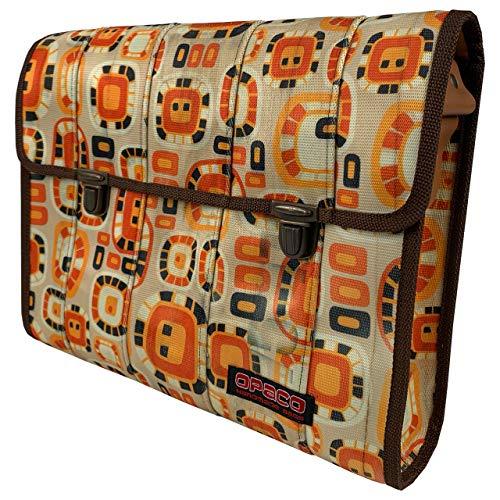 Nachhaltige Messenger Tasche aus Recyceltem Feuerwehrschlauch mit Einzigartigen Einsatzspuren und Aufdrucken (Orange Bemustert)