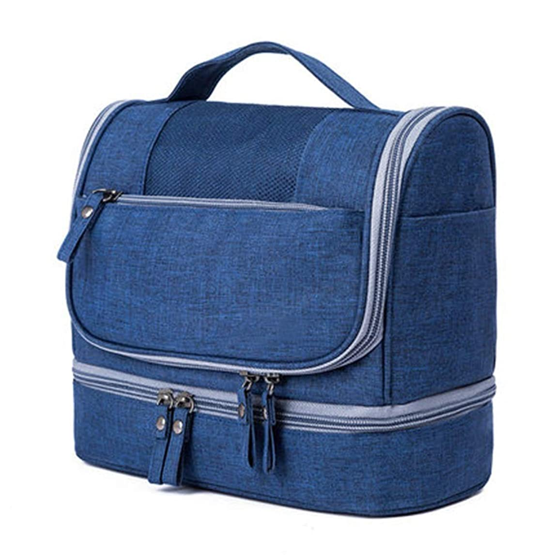 なしで提案狂信者化粧ポーチ トラベルウォッシュバッグ防水コスメティックバッグメンズビジネストラベルポータブルストレージバッグセット女性大容量のトラベル用品 ウォッシュバッグ (色 : 青, Size : 21x25x13cm)