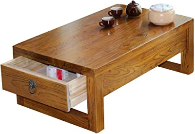 Coffee Table with Drawer Solid Wood Bay Window Low Table Home Balcony Tea Table Living Room Bedroom Tatami Small Table (Color : Brown, Size : 70 * 45 * 30cm)