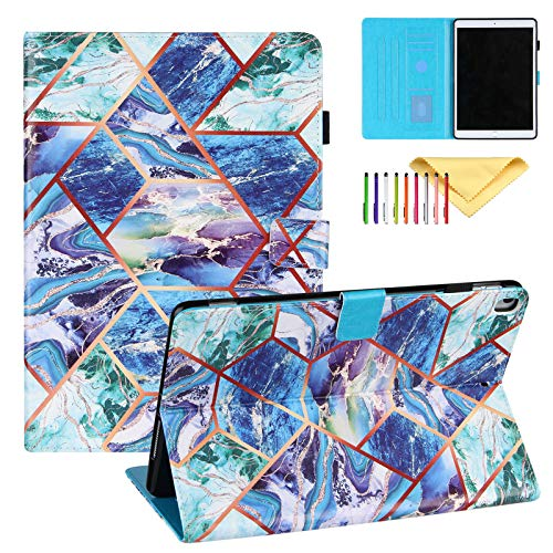 Uliking Case for iPad 10.2' 2020 2019 (7th, 8th generation) / iPad Pro 10.5/ iPad Air 3 Cover with Pencil Holder Marble Painting PU Leather Smart Cover Multi Angle Viewing Stand, Blue Green Marble