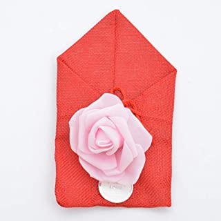 50 Pack Rose Burlap Bag with Drawstring, Candy Gift Bags for DIY Craft Wedding Favors Party Christmas,Red,10x17cm