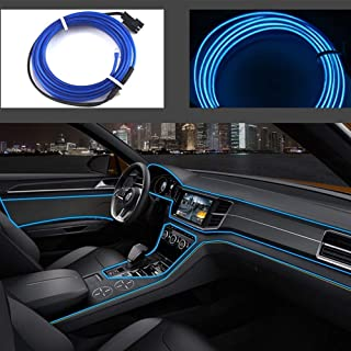 USB Neon EL Wire for Car Interior Bike Cosplay Festival Decoration LED Glowing Electroluminescent Wire Light Cold Lights with Drive Light Lamp Glow String Strip 5V (1M Blue)